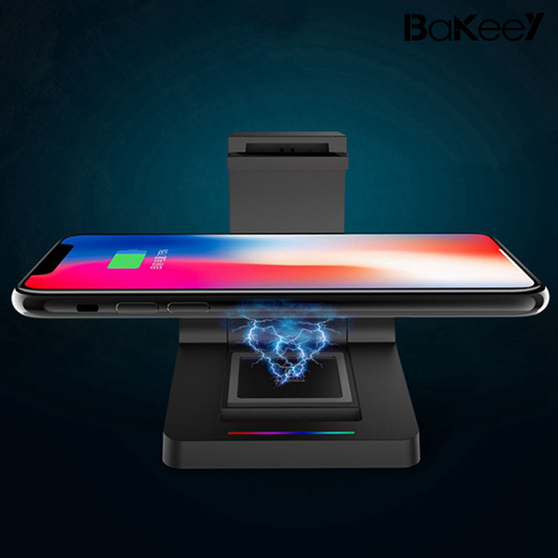 High Bakeey 3 1 Qi Wireless Charger 2600mAh Power Bank Desktop Holder iPhone X 8Plus Samsung S8