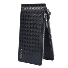 New Men ultra-thin big-capacity plaid pattern long cards package multi-card bit wallet bag man bank credit card holder(China)