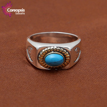 New Retro Style Female High Quality 925 Sterling Authentic Fashion Blue Geometric Cocktail Women Jewelry Rings GR47(China)