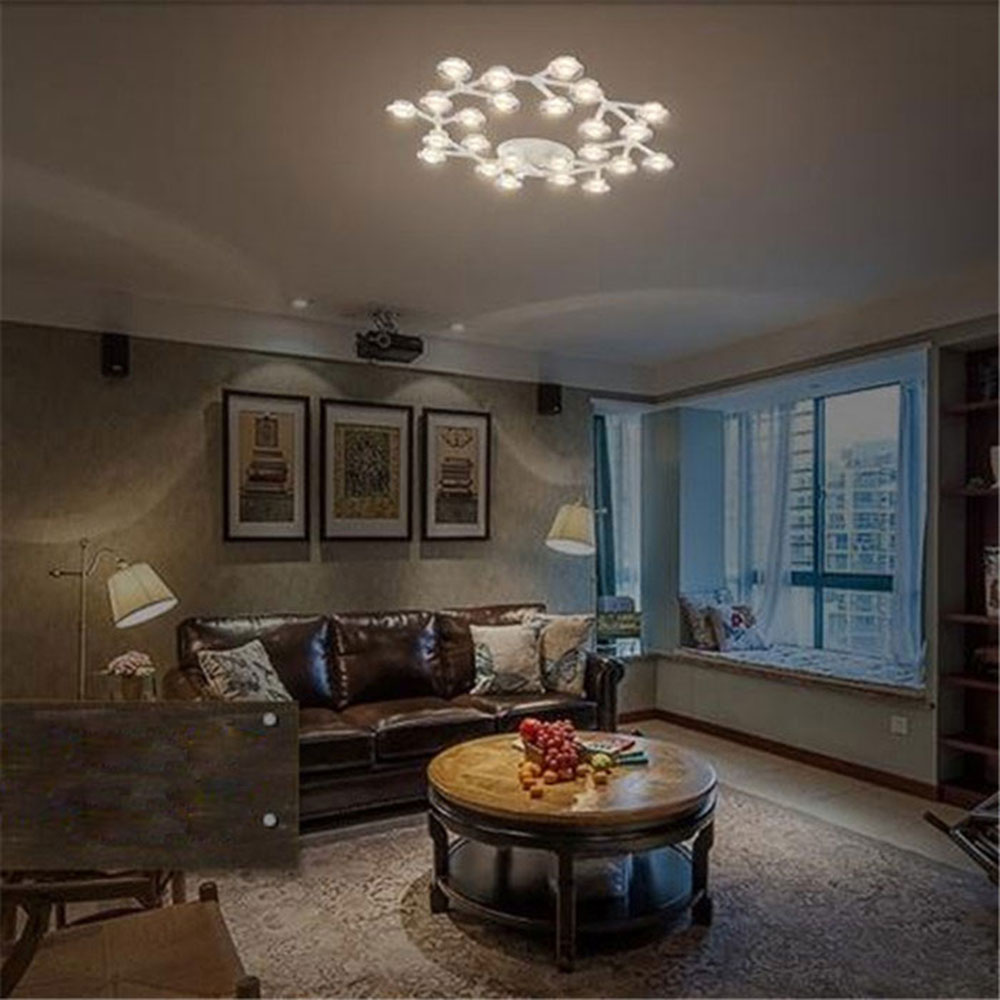 AC100-240V 9 to 36 lights White Round Circle LED Ceiling lights Art Design flower bloom lamparas de techo lustres de teto gloss<br><br>Aliexpress