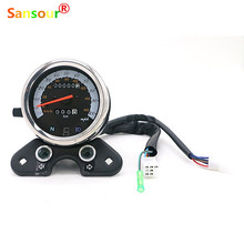 Universal Motorcycle Speedometer Odometer Gauge ATV Bike Scooter Backlit Dual Speed meter with LED Indica for Suzuk i Cafe Racer