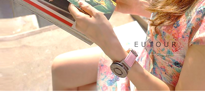 EUTOUR Women Watches Magnetic Ball Pointer Creative Ladies Watch Simple Fashion Pink Canvas Strap Wristwatches For Blind Person (2)