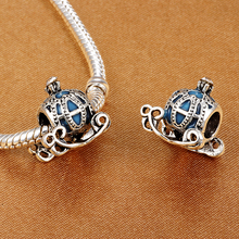 HOMOD Blue Cinderella's Pumpkin Coach Charms Beads fit Pandora Charm Bracelet For Women Jewelry DIY Accessories
