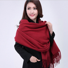 100% Wool New Fashion Burgundy Pashmina Thick Solid Color Women's Winter Shawl Scarf Scarves Wrap Warm2017 15 Colors 0115