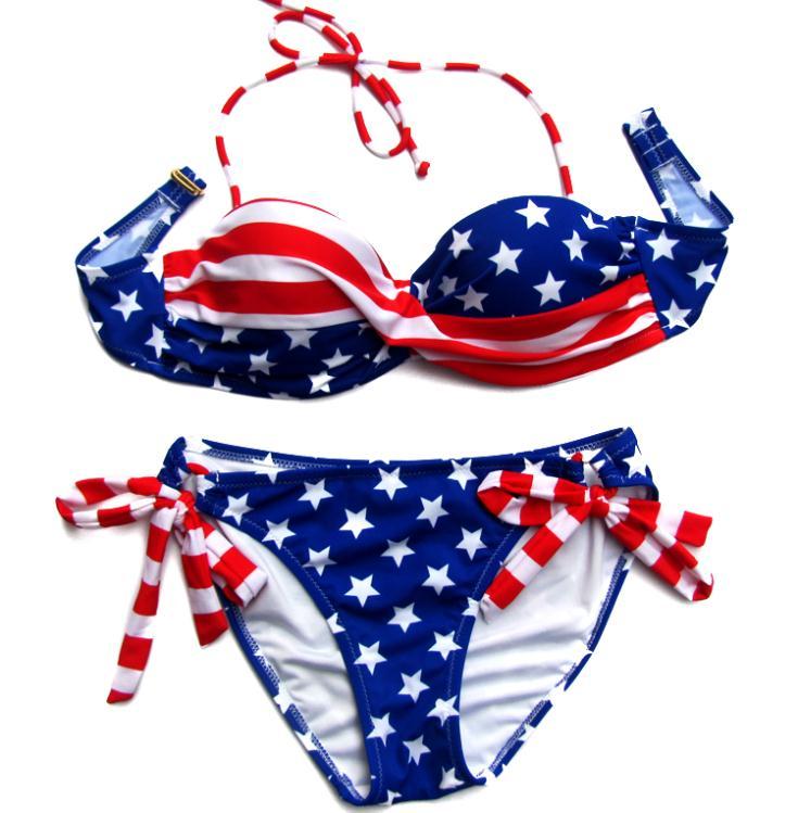 2017  women Bikini Sexy Plus Size Swimwear Bikinis  Summer STARS And STRIPES USA Flag Bikini PADDED  AMERICAN bathing suits<br><br>Aliexpress