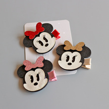 1 pcs 2017 New Fashion Lovely Mickey Bowknot Hairpins Girls Hair Accessories Children Headwear Baby Hair Clips Headdress(China)