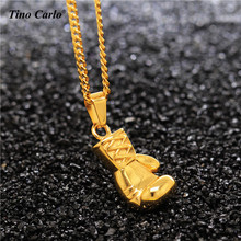 New Rocky Mini 3D Boxing Glove Charm Men's Gold Pendant Necklace Stainless Steel Cool Pendant For Men Boys Gift Fitness Jewelry(China)