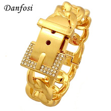 Danfosi Fashion Belt Design Spring Opened Cuff Bangles MS Rhinestone Metal Wrap H-Quality Gold Color Bracelets Charm Jewelry(China)
