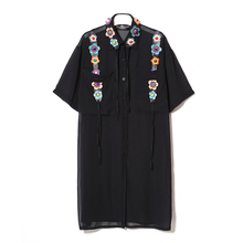 Women Summer Chiffon Flower Dress Designer Black 3D Dresses Shirt Runway 2017 High Quality Fashion Half Sleeve Vestido Femme