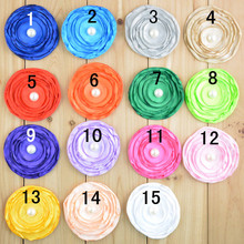 15colors 7CM Satin Fabric Rose Flower Without Clip for Baby Girl Toddler Headbands DIY Hand Craft Baby Hair Accessories