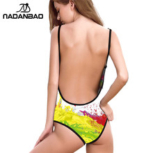 Sexy Women One Pieces Swimsuit Van Gogh Painting Horse Digital Print Beachwear Bathing Suite Bandage Backless Swimwear(China)