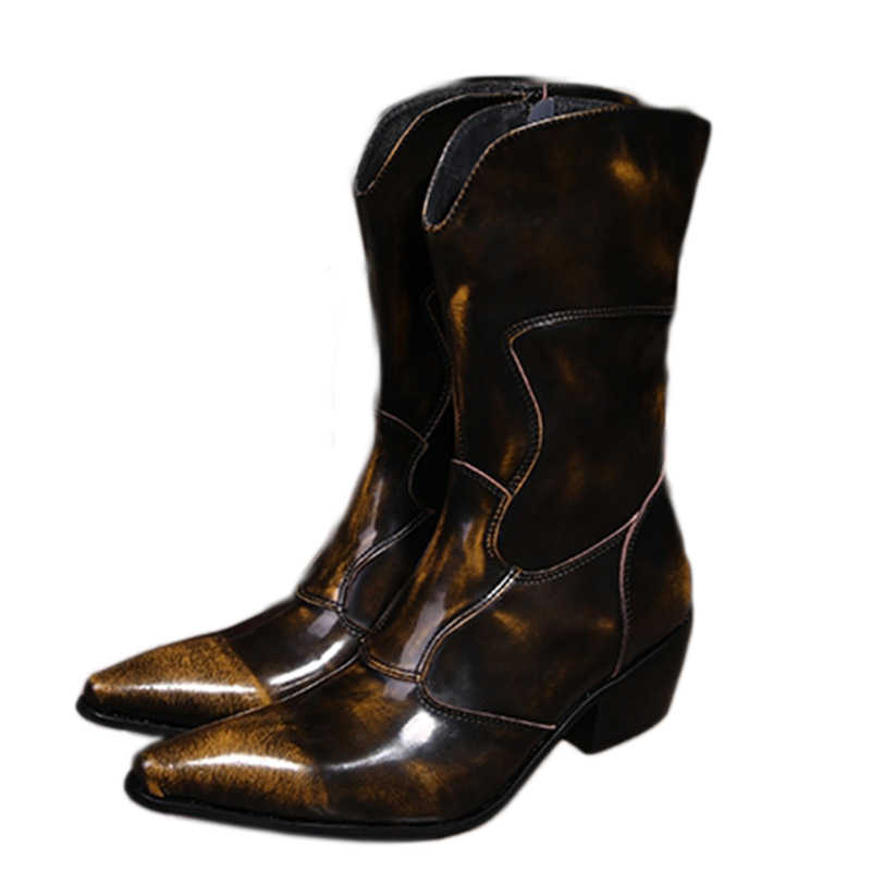 512ed40b Западные ковбойские ботинки Для мужчин средней до середины икры из  натуральной кожи Мужские ботинки 6,