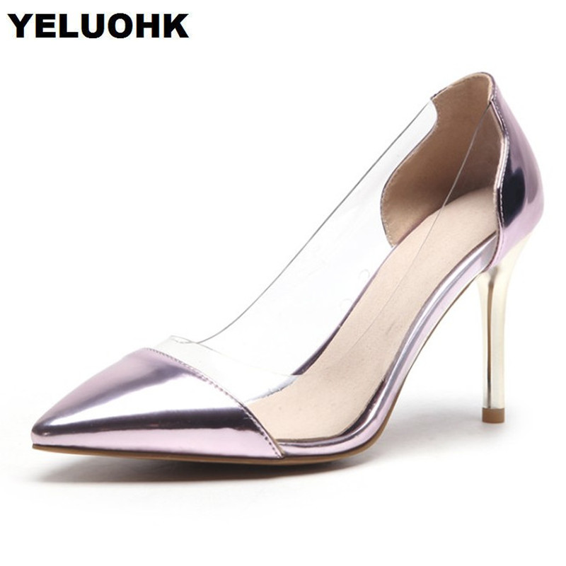 2018 New Transparent Shoes Women High Heels Sexy Pointed Toe Women Shoes Pumps Stiletto Heel For Party Pink Shoes<br>