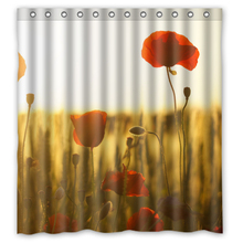 Red Poppies Beautiful Flowers customized Unique Curtain Bathroom Products Waterproof Shower Curtains 48x72, 60x72, 66x72 inches