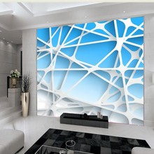 Free Shipping custom wall painting wallpaper TV backdrop living room sofa three-dimensional curve mural