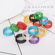5Pcs Vintage Alloy Spring Finger Ring Multicolor Wide Wave Steel Wire Rings For Women Fashion Jewelry Wholesale(China)
