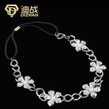 Fashion Hot Sale Tiara Noiva Metal Gold Chain Flower Hairband For Bridal hair band Hair Accessory Women Forehead Jewelry