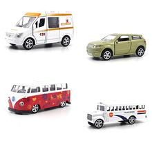 1:64 Alloy car model School polic car Bus SUV ambulance Can open the door Back to power Children's toys ornaments