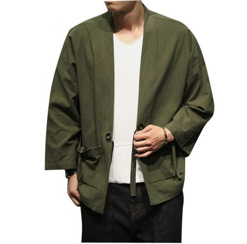 Loldeal Army green cardigan Men Clothing Cotton Cardigan Jacket Male Streetwear Fashion Hiphop Casual Coat Loose Kimono Jacket