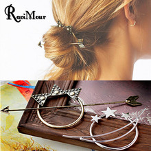 2017 Vintage Gold Silver Color Hair Sticks Arrow Moon Star Bob Hairpin Combs Hairwear for Women Fashion Hair Accessories Wedding