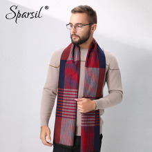 Sparsil Men New Winter Thick Warm Cashmere Scarf Soft Hit Color Striped Knit Muffler Neck Wrap 180x30 Boys Simple Long Scarves(China)