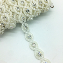 1 Yards 12mm Rhinestone Chain Pearl Crystal Chain Sew On Trims Wedding Dress Costume Applique #ZuL13(China)
