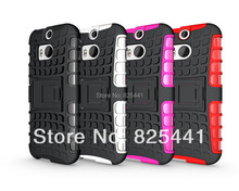 Anti-skid Dual-color Design TPU+PC Kickstand Silicone hard case Defender Heavy Duty back cover For HTC One 2 HTC M8 1pcs/lot