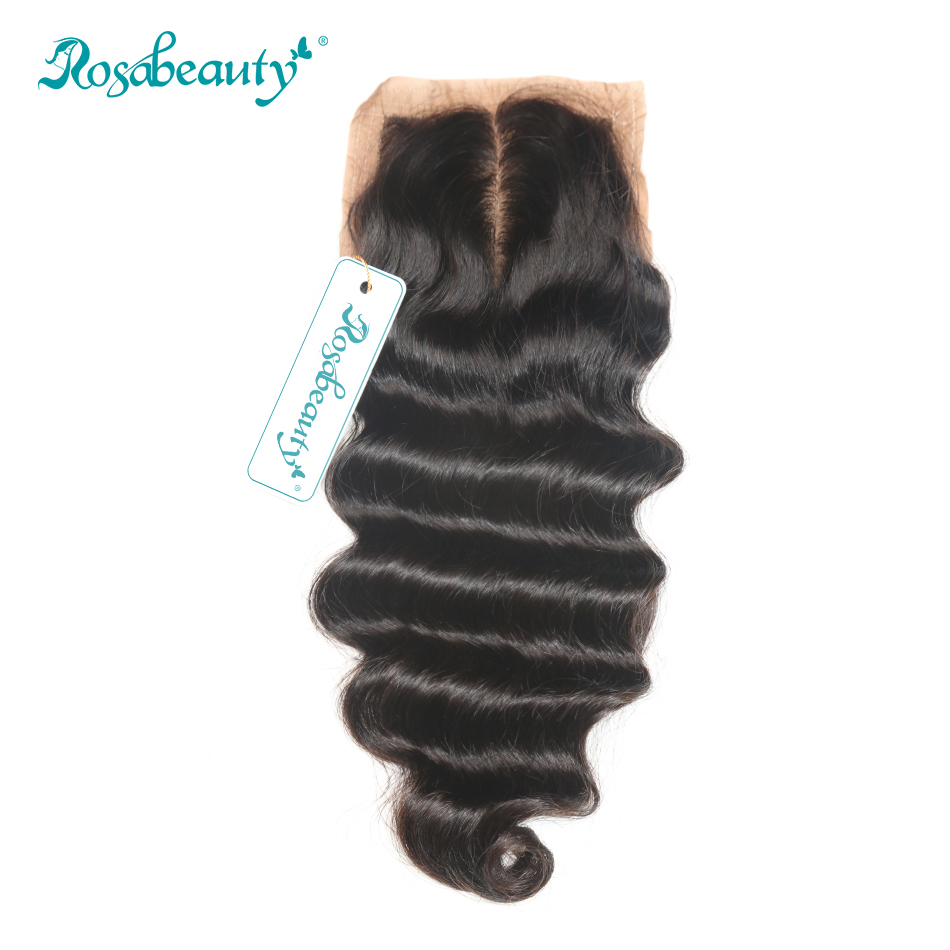 "Rosabeauty Brazilian Remy Hair Loose Wave Silk Base Closure 4""*3.5"" Lace with Bleached Knots 100% Human Hair(China)"