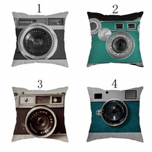 Docushion-45cm*45cm Cartoon camera series Decorative Traditional Throw Pillow Case Vintage Cotton Linen Square cover case(China)