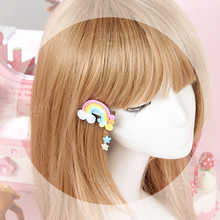 Princess sweet lolita hairbands Handmade clay Rainbow Star Brooch soft sister Macarons color hair fish mouth clamp GSH021(China)