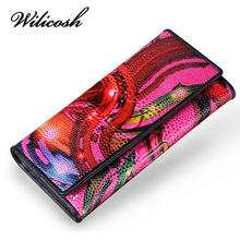 Wilicosh Brand Design Women Wallets purses Flower Printed Women's purses made of genuine leather wallet Ladies Clutch bag YF443