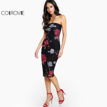 Buy COLROVIE Floral Bodycon Bandeau Dress 2017 Sexy Strapless Women Elegant Summer Party Dresses Fashion New Midi Night Club Dress for $9.98 in AliExpress store