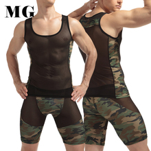 Mr.Gun 1 Set Man Sexy Underwear Set Mesh Camouflage Printing Tank Top w Long Underwear Sexy Erotic Nightclub Party Nightwear Hot