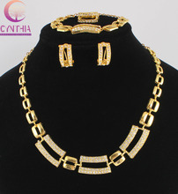 Fashion European Women Vintage Dubai Jewelry Sets Gold colour golden Crystal Wedding Nigerian Arican Beads Jewellery Costume