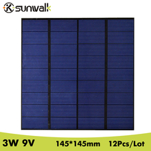 SUNWALK 12pcs 0.33A 3W Mini Polysilicon Solar Panel Module System 9V Solar Panel Cell Charging for DC Battery DIY 145*145mm(China)