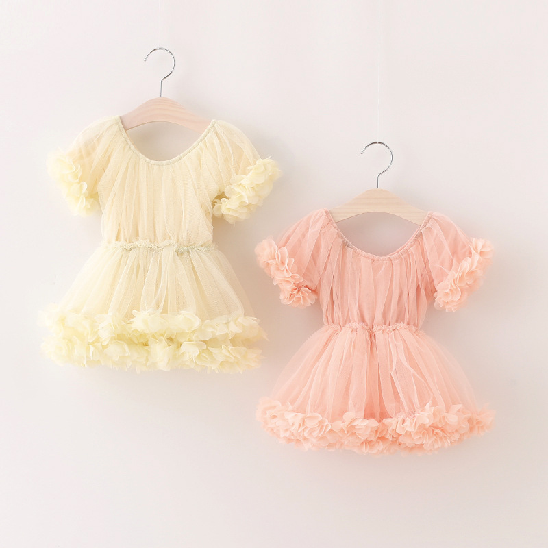 New 2017 Girls Princess Fairy Sweet Dance Dress pink/ivory tutu dress Children Baby Floral Mesh Dresses toddler girls clothing<br><br>Aliexpress