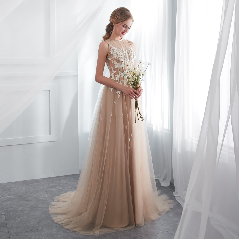 shop Champagne Prom Dress Lace A-line Sleeveless Party Evening Gown online