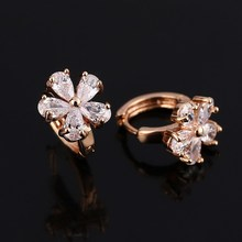 2017 High Quality Luxuxy Gold Color Earring Girl's Clear Zircon Earring Brilliant Flower Design Earring For Wedding
