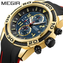 MEGIR Date Chronograph Men Watch Top Luxury Brand Clock Military Army Sport Male Clock Rubber Strap Quartz Mens Watches Box 2045(China)