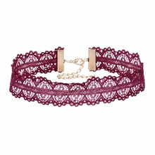 Wine red new collar trend new listing collar length 35 cm lace into a very beautiful for the match  Choker Necklace NR3520