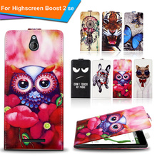 Newest  For Highscreen Boost 2 SE Factory Price Luxury Cool Printed Cartoon 100% Special PU Leather Flip case cover,Gift