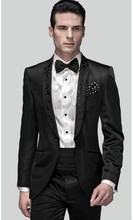 Handsome Mens Suits Groomsmen Shawl Lapel Groom Tuxedos One Button Strips Wedding Best Man Suit  (Jacket+Pants+Tie+Girdle) A89