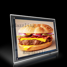 Restaurant desktop stand slim acrylic frame led illuminated menu boards a4 menu lightbox for fast food store/pizz shaop/Cafe