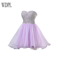 WDPL Real Image Luxury High Quality Lavender Cocktail Dresses Shiny Crystal Sequins Short Formal Party Dress Sweetheart Lace Up