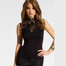 Buy 2016 Women Chiffon Shirt Summer Slim Stitching Lace Round Neck Sexy Hollow Halter Sleeveless Chiffon Blouse Ladies Shoulder
