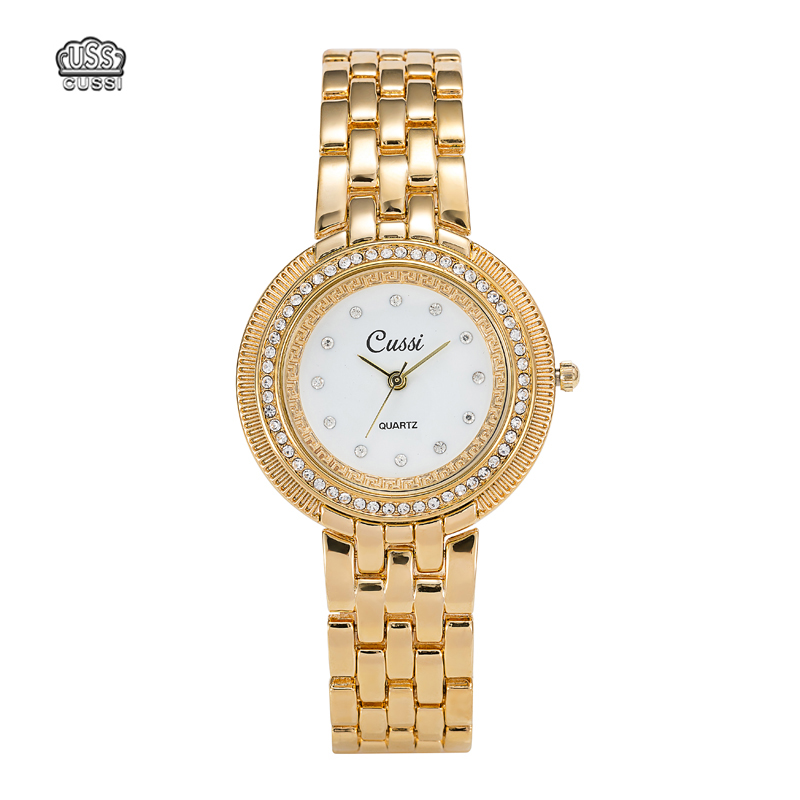 CUSSI Luxury Diamond Women Watches IPG Gold Plated Quartz Watches Gift Waterproof case 2018 New Designer Dress Watches<br>