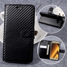for Samsung Galaxy A3 2017 Flip Cover Carbon Fiber Texture Stand Leather Wallet Flip Case for Samsung Galaxy A3 2017 Coque Capas