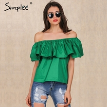 Simplee Apparel Sexy slash neck ruffles women tops tees Off shoulder beach summer style tops Women blouses shirt party tube top(China)