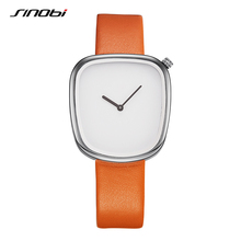 SINOBI Brand Irregular Design Fashion Creative Women Watches 2017 Neutral 4 Leather Colors Quartz Ladies watch relogio feminino(China)