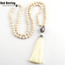 Free Shipping Fashion White Stones Bohemian Tribal Jewelry Oval Pearl Crystal Ball Long White Tassel Necklace(China)